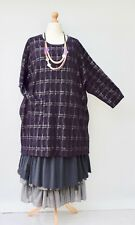 "LAGENLOOK PLUS SIZE CHECK PRINT BATWING LONG TUNIC**PLUM**BUST UP TO 56"" XL-XXL"