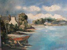 Marine, Bretagne, petit port de pêche  huile sur toile tableau ancien 50cmX40cm
