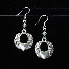 """""""Sj1"""" 3D Angel Wing Heart Sterling Silver Dangle Earrings w/ Swarovski Crystal"""