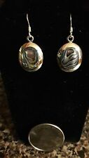 Mother of Pearl Abalone Inlay Earrings in Sterling Silver 9.25