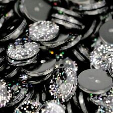 Glitter Resin Buttons Ideal for dance Costumes Black x 10/ 13mm B141B