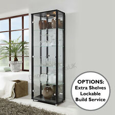 HOME Double Black Glass Display Cabinet Glass Shelves Mirror Back Lock