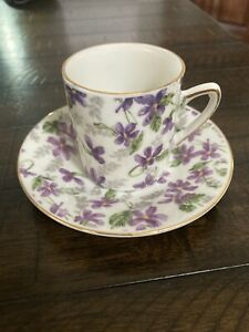 Violet Espresso Cups  With Saucers