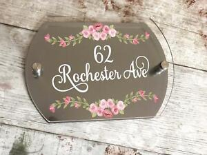 Personalised Acrylic External Door Number Plates Plaques ND1 Pink Floral Design