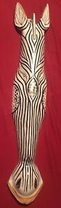 "Bali Wooden Hand Carved Zebra Head Sculpture W/Mirrored Mozaic 40"" Indonesia Art"