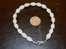 """Sterling Silver and 10x6mm Mother of Pearl Bracelet 8 1/2 """" (7893)"""