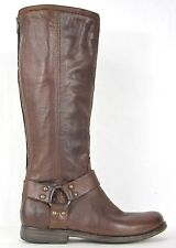 FRYE BOOTS Phillip Harness Tall Cognac / Brown Leather Boots 76850 SZ 6 $358