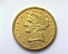 1857 LIBERTY HEAD $5 GOLD NEARLY UNCIRCULATED SCARCE THIS SHARP