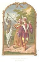 Medieval GRIM REAPER DEATH WOMAN PLAGUE ChromolithoAntique Art Print [IncSMP50