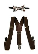 Dark Brown Suspender and Bow Tie Set for Baby Toddler Kids Boys Girls (USA)