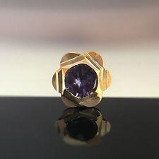Star Clear Stud Yellow 14Kt Gold Nose Bone Push Pin Piercing Ring 18 Gauge CZ
