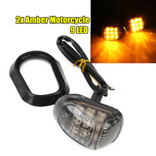 2x Amber Motorcycle 9 LED Flush Mount Turn Signals Indicators Blinker Light 12V