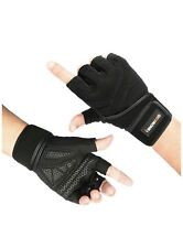 Isnowood Weight LiftIng Gloves. Padded, Silica Gel Grip. Gym, Cross Train. L Blk