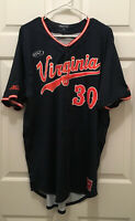 University of Virginia UVA Cavaliers Baseball Game Worn #30 Blue Jersey Size 46