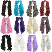 Women Lolita Curly Wavy Cosplay Wig Fashion Streaked Wigs Clip on Ponytails Hair