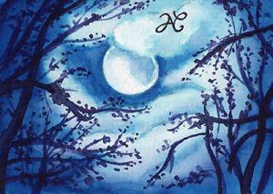 ORIGINAL ART Watercolor Moonlight Trees Romantic Forest Night Moon Clouds