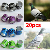 20Pcs Personal Racing Pigeon GB Leg Foot Ring Bands Aluminium Homer Ring