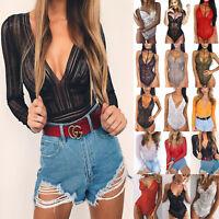 Womens Deep V Neck Lace Lingerie Bodysuit Jumpsuit Leotard Rompers Blouses Shirt