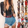 Womens V Neck Lace Lingerie Bodysuit Jumpsuit Leotard Romper Top Blouses T Shirt