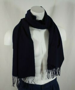 VIntage Burberrys London Solid Navy Blue Scarf Cashmere Wool Blend