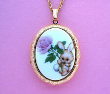 Porcelain Easter BUNNY RABBIT & Pink ROSE CAMEO Costume Jewelry Locket Necklace