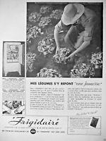 PUBLICITÉ DE PRESSE 1934 FRIGIDAIRE MES LÉGUMES S'Y REFONT UNE JEUNESSE