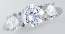 3 ct tw Three Stone Ring Vintage Russian Cubic Zirconia Imitation Moissanite  4