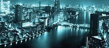 """TOKYO CITYSCAPE CANVAS ART CITY SCENE BLUE WIDE 44""""x20"""""""