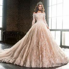 Vintage Champagne Victorian Gothic Wedding Dress Boat Neck Ball Gown Bridal Gown