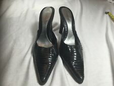 e0778a1b12 Nine West Snakeskin Leather Pointed Toe Mule Black Size 10M