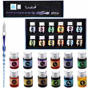 15 Pieces Glass Ink Pen Set Rainbow Crystal Pen Glass Dip Pens with 12 Bottles