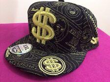 UNIPRO ULTIMATE HEADWEAR  $ cap, money sign, Hustler,BlackGold-size 8,XXL, bling