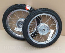 Simson 2x Komplettrad 1,6x16 Alufelge Edelstahl S50 S51 S70 Schwalbe KR51 Räder