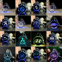 Crystal Light Changing Car key ring Car Logo Key-chain Colour Led Light Gift Box