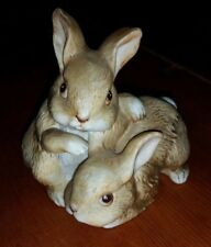 CUTE Vintage HOMCO Bunny Rabbit Figurine Mom & Baby Labeled & Numbered 1455