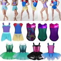 Girls Sequin Mermaid Leotard Dance Tutu Dress Gymnastics Ballet Skater Costume