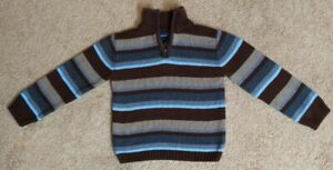 BOYS Standard Blues SIZE 4(Good Condition) 1/4 ZIP STRIPED brown/tan SWEATER
