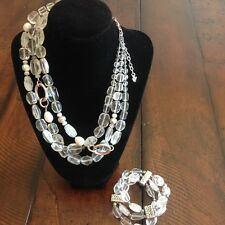 Silpada Necklace & Bracelet Set - N1789 & B1600 Crystal, Quartz, Pearl, Silver