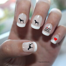 German Wirehaired Pointer Love Nail Art Red (Dpna005)- Free Shipping