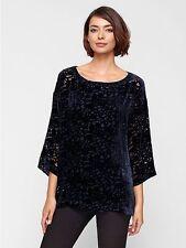 Eileen Fisher Bateau Neck Box Top Velvet Vines Burnout Midnigt Blue blouse shirt