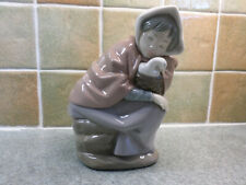Nao by Lladro Figurine Girl Sleeping With Duck in A Basket. Approximately 17cm