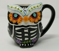 3D Day Of The Dead Sugar Skull Skeleton Owl Mug Halloween Cup Black NEW