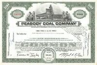 Peabody Coal Company Chicago Common 100 Share Stock Certificate 1950-60's Green