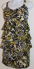 Cache Skirt Suit Set 4 M Leopard Yellow Black Layered Ruffle Career FREE SHIP