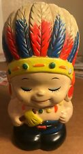 "Antique Little Boy Indian Chief Ceramic Piggy Bank, Japan, 7"" Tall"