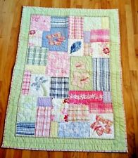 """Pottery Barn Kids Crib Quilt Island Theme Pink Blue Green 36X49"""" Pre-Owned"""