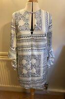Missguided women scarf print frill sleeve dress top blouse UK10 EU38 US6