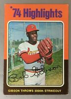 1975 TOPPS 3 BOB GIBSON MINI CARDINALS HOF MINIS HIGHLIGHTS BASEBALL CARD VG-EX
