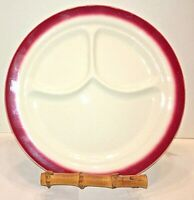 """Buffalo China Plates 2 Restaurant Ware Divided Grill 9.5"""" White Red Stripe Vtg"""