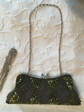NEW Couture Green hand beading Evening Cocktail handbag Formal silver